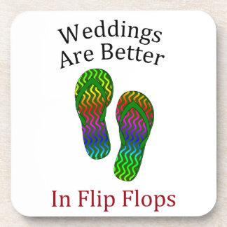 結婚式|よりよい|フリップ|フロップ|浜|結婚 ドリンクコースター