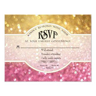 結婚式RSVPの《写真》ぼけ味映画チケットのスタイルの金ゴールドのピンク カード