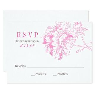結婚式RSVPは|の明るい赤紫色の花柄のシャクヤクを梳きます 8.9 X 12.7 インビテーションカード