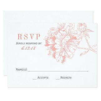 結婚式RSVPは|の珊瑚の花柄のシャクヤクを梳きます 8.9 X 12.7 インビテーションカード