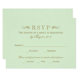 結婚式RSVPカード|アンティークの金ゴールドの華麗さ カード