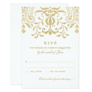 結婚式RSVPカード|金ゴールドのヴィンテージの魅力 カード
