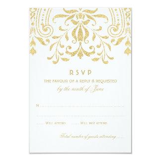結婚式RSVPカード|金ゴールドのヴィンテージの魅力 8.9 X 12.7 インビテーションカード