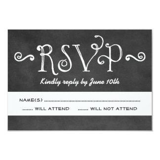 結婚式RSVPカード|黒い黒板のチャーム 8.9 X 12.7 インビテーションカード