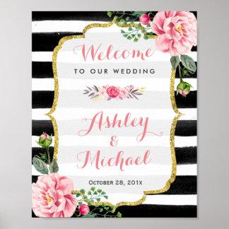 結婚披露宴の印のストライプな花の金ゴールドのグリッター ポスター