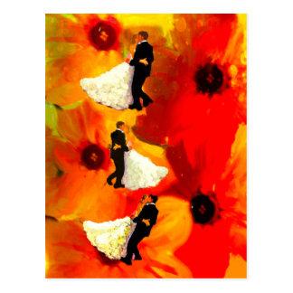 結婚披露宴の踊りのカップル ポストカード