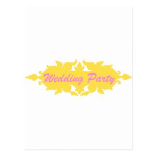 結婚披露宴の金黄色いヴィンテージのスタイルの旗 ポストカード