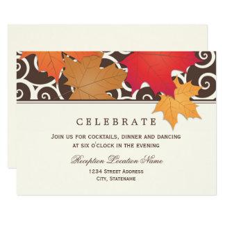 結婚披露宴カード|紅葉のテーマ 8.9 X 12.7 インビテーションカード
