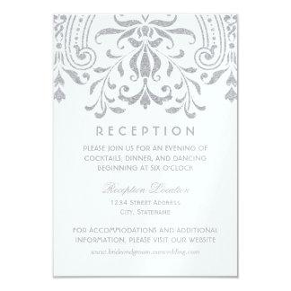 結婚披露宴カード|銀製のヴィンテージの魅力 8.9 X 12.7 インビテーションカード