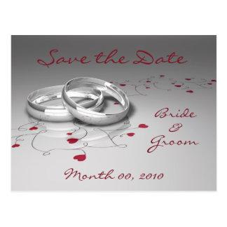 結婚指輪およびハートは日付の郵便はがきを救います ポストカード