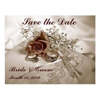 結婚指輪およびバラは日付の郵便はがきを救います ポストカード