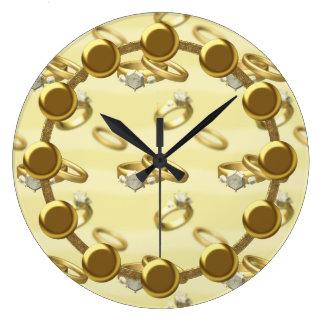 結婚指輪の柱時計 ラージ壁時計