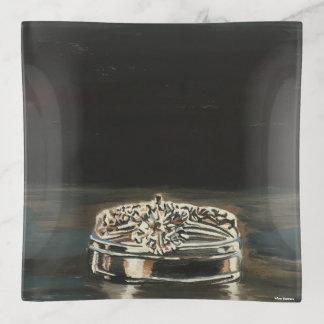 結婚指輪のMonotypeのプリントの装身具の皿 トリンケットトレー