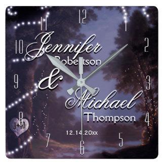 結婚祝いの素朴な国 スクエア壁時計