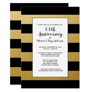 結婚記念日のパーティーのモダンは第50金ゴールドを縞で飾ります カード