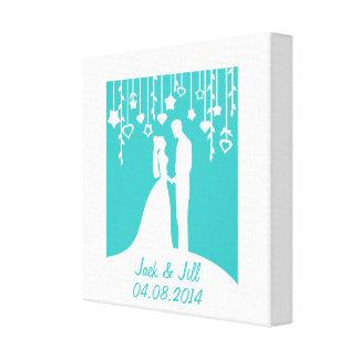 結婚記念日の名前入りな名前及び日付 キャンバスプリント