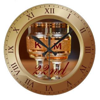 結婚記念日の銅の金ゴールドのブラウンの青銅色の写真 ラージ壁時計