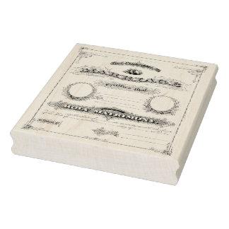 結婚証明書の確実なヴィンテージの芸術のスタンプ ラバースタンプ