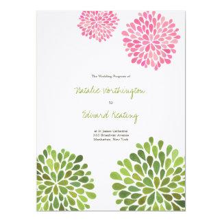 結婚|プログラム|ピンク|赤い|黄色|花|開花 16.5 X 22.2 インビテーションカード