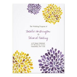 結婚|プログラム|紫色|黄色|水彩画|ダリア 16.5 X 22.2 インビテーションカード