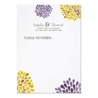 結婚|メニュー|紫色|及び|黄色|ダリア|花 11.4 X 15.9 インビテーションカード
