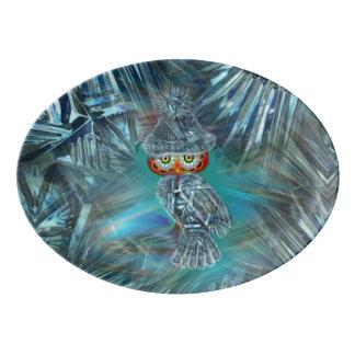結晶させた冬のファッションのフクロウの配膳盆 磁器大皿