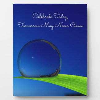 結露の青空の月は引用文を祝います フォトプラーク