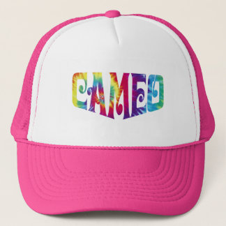 絞り染めのカメオのロゴのピンクの帽子 キャップ