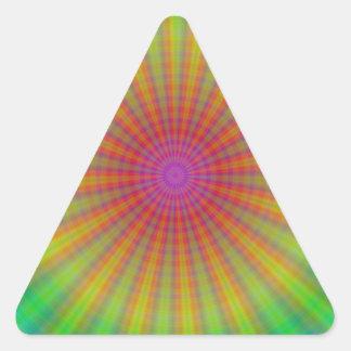 絞り染めのスターバストの抽象芸術の虹 三角形シール