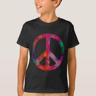 絞り染めのピースマーク Tシャツ