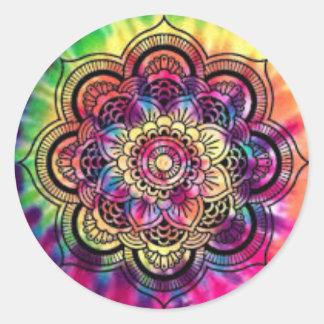 絞り染めの幾何学的な円形のステッカー ラウンドシール