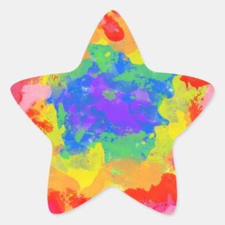 絞り染めの水彩画のカラフルなしぶき 星シール