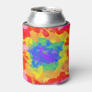 絞り染めの水彩画のクーラーのカラフルなしぶき 缶クーラー