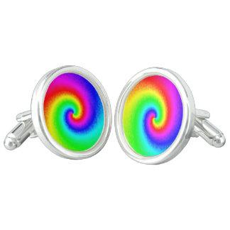 絞り染めの虹の渦巻のカフスボタン カフスリンク