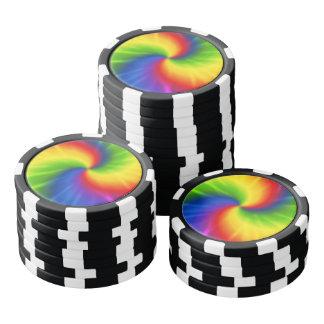 絞り染めの虹パターン ポーカーチップ