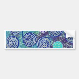 絞り染めの青いアフリカのワックスパターン バンパーステッカー