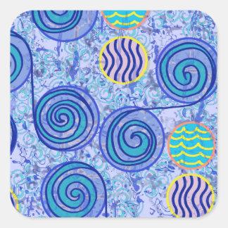 絞り染めの青い円パターン スクエアシール