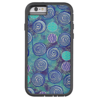 絞り染めの青い円パターン iPhone 6 タフ・エクストリームケース
