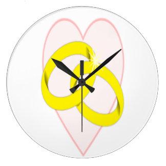 絡み合わせた結婚指輪 ラージ壁時計