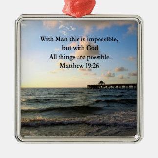 絵のようなMATTHEWの19:26の海の写真のデザイン メタルオーナメント