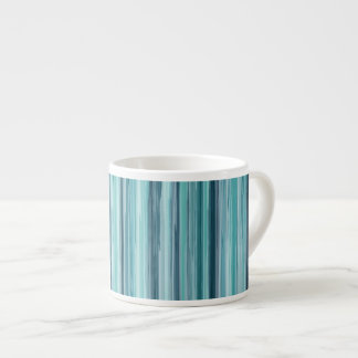 絵を描かれるティール(緑がかった色)の水彩画は縞で飾ります(ティール(緑がかった色)、青緑色、青) エスプレッソカップ