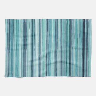 絵を描かれるティール(緑がかった色)の水彩画は縞で飾ります(ティール(緑がかった色)、青緑色、青) キッチンタオル