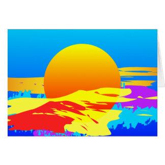 絵を描かれる日の出の日没のカラフルの抽象芸術 カード