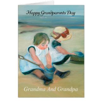 絵を描かれる祖母および祖父の祖父母日の油 カード