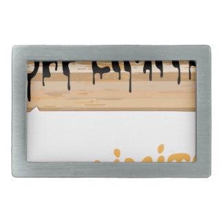 絵を描かれる立ち入り禁止区域の木製の印 長方形ベルトバックル