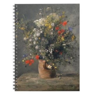 絵を描くピエールAugusteルノアールつぼの花 ノートブック
