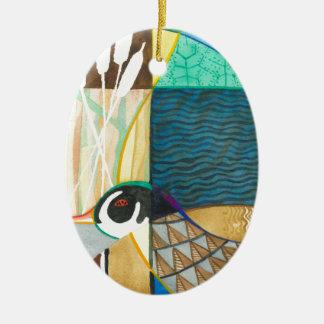 絵を描く自然の水鳥II セラミックオーナメント