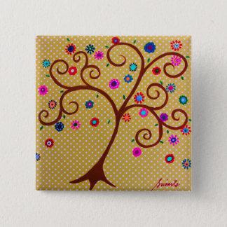 絵画お洒落な生命の樹 5.1CM 正方形バッジ