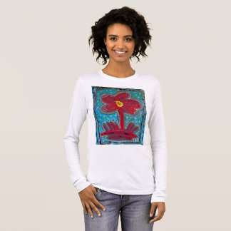 絵画の~の女性NJのパンクの長い袖を開花して下さい 長袖Tシャツ