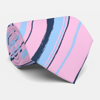絵画的でストライプのなピンク及び海軍両面結婚式 オリジナルネクタイ